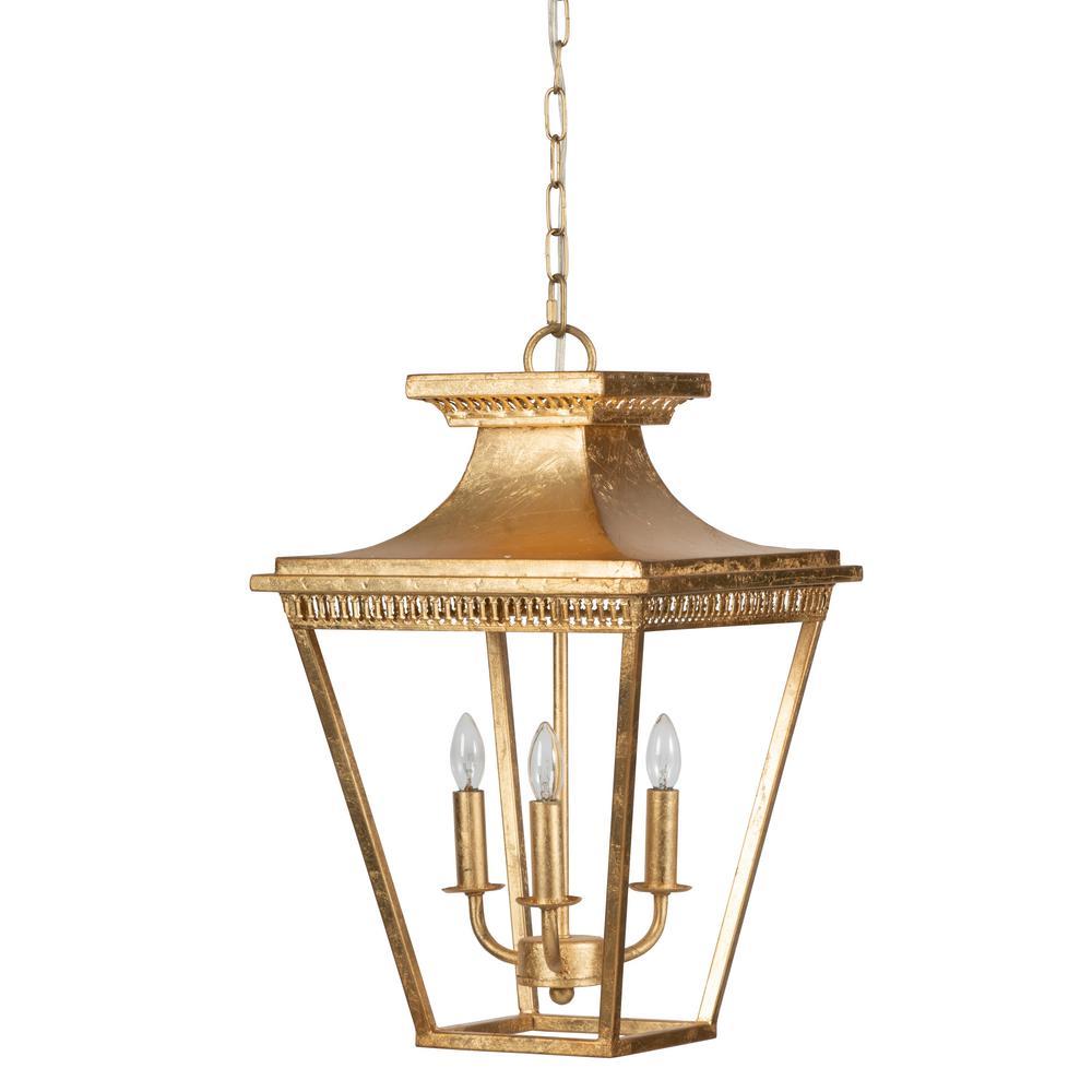 3-Light Gold Chandelier