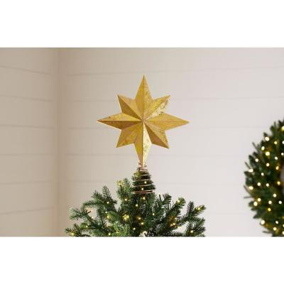 13 in. Gold LED Star and Snowflake Projection Christmas Tree Topper