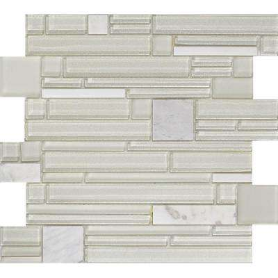 Entity Gusto Glossy 11.81 in. x 11.81 in. x 8mm Glass Mesh-Mounted Mosaic Tile