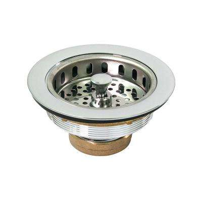 3-1/2 in. - 4 in. HeavyDuty Kitchen Sink Stainless Steell Drain Assembly with Strainer Basket Stopper