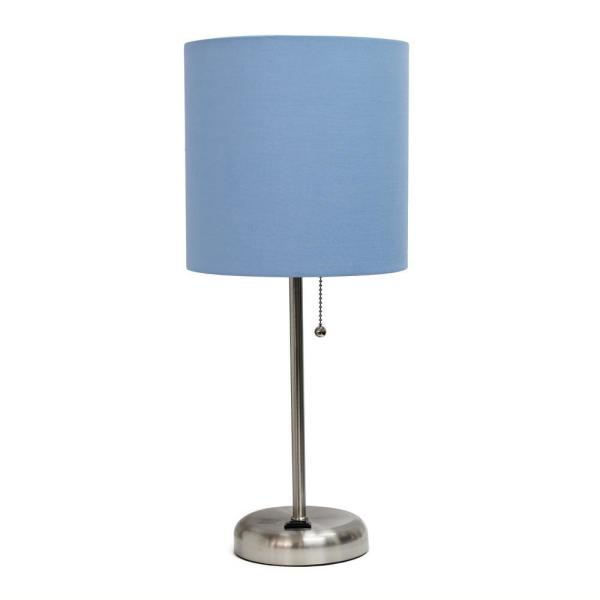 19.5 in. Blue Stick Lamp with Charging Outlet
