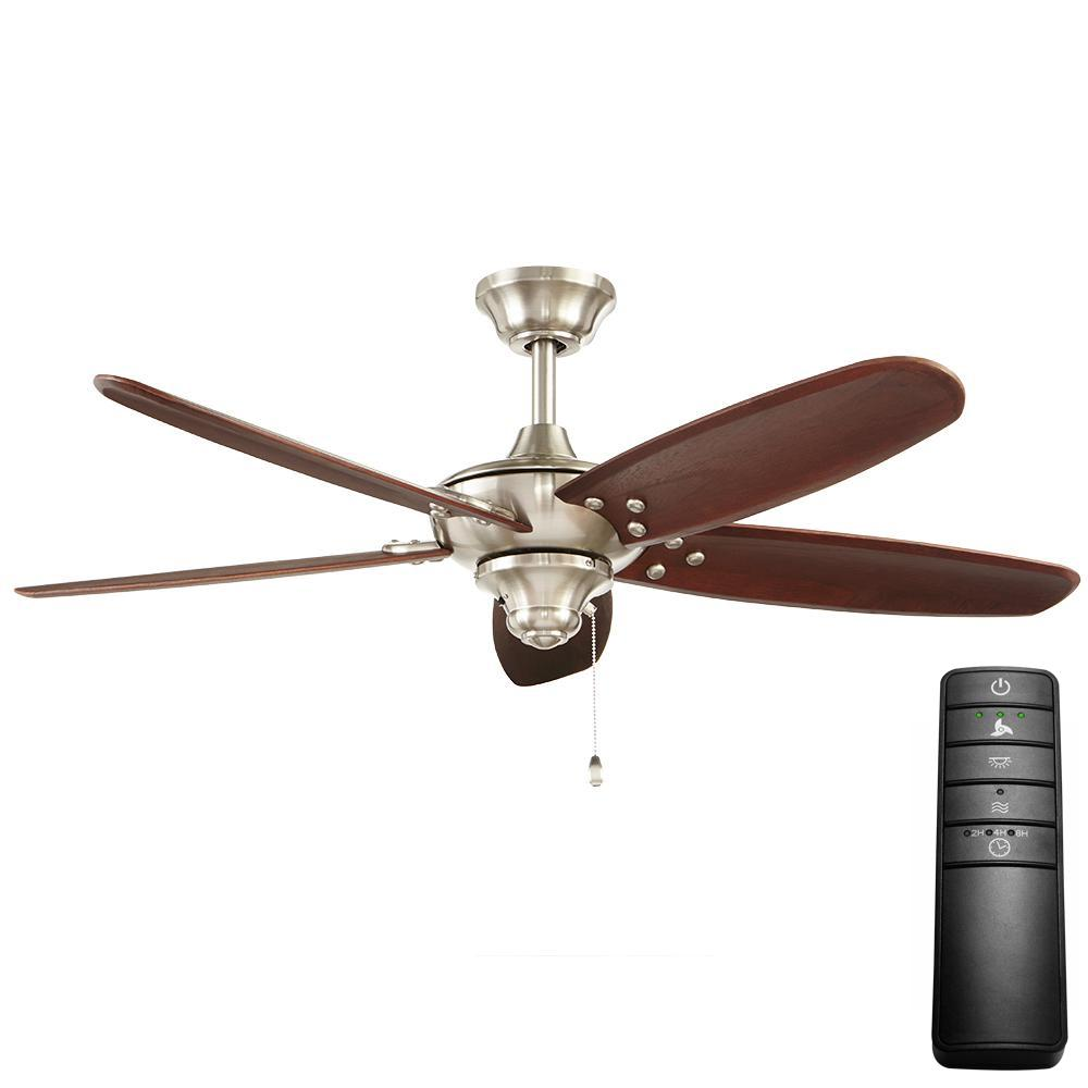 Home Decorators Collection Altura 48 In Indoor Outdoor Brushed Nickel Ceiling Fan With Remote