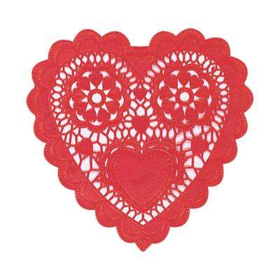 6 in. Valentine's Day Red Paper Heart Shaped Doilies (20-Count, 8-Pack)