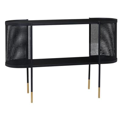 47 in. x 31.5 in. in. Oval Black Metal Wrapped Console Table With Open Storage Center and Gold Detail Legs