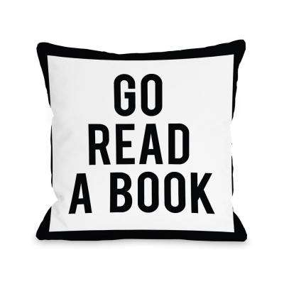 Gingham Go Read a Book 16 in. x 16 in. Decorative Pillow