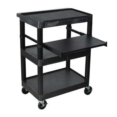 34 in. A/V Utility Cart with 3 Shelves and Pullout Shelf in Black