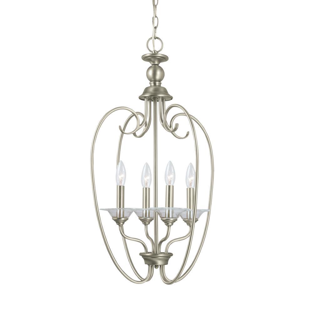 Foyer Pendant Lighting Brushed Nickel : Sea gull lighting lemont light antique brushed nickel