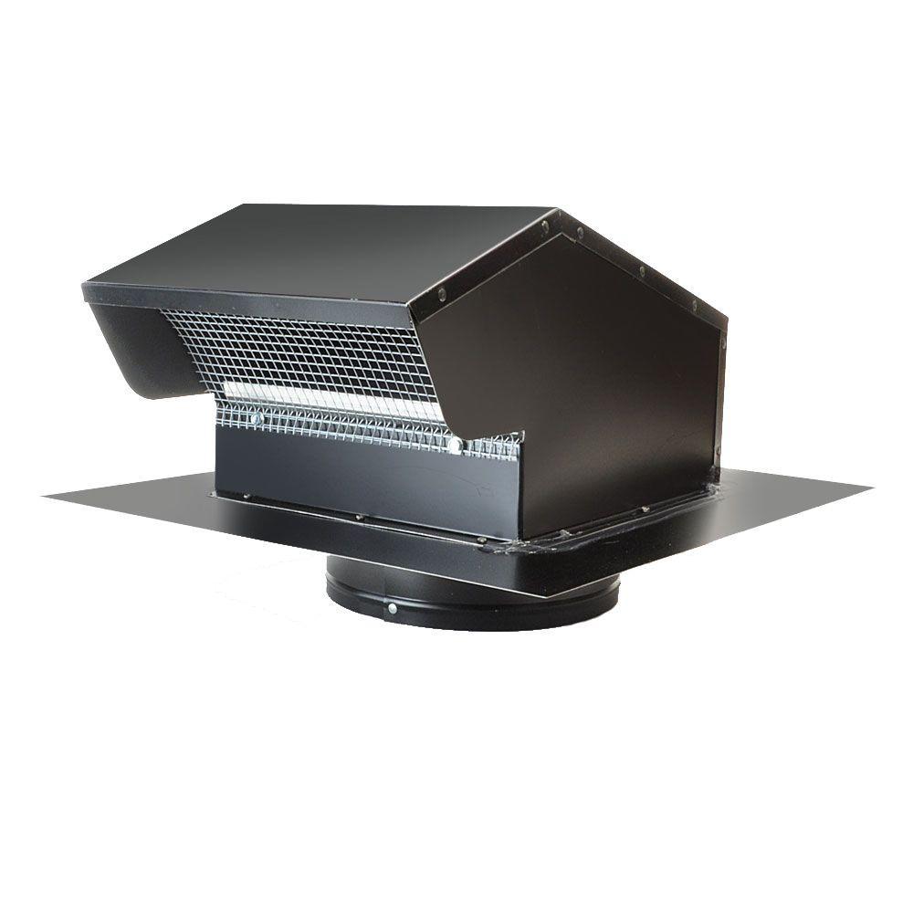 7 in. Goose Neck Vent - Roof Cap in Black