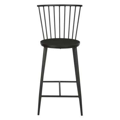 26 in. Black Bryce Counter Stool with Metal Frame