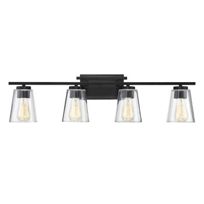 32 in. 4-Light Black Vanity Light with Clear Glass