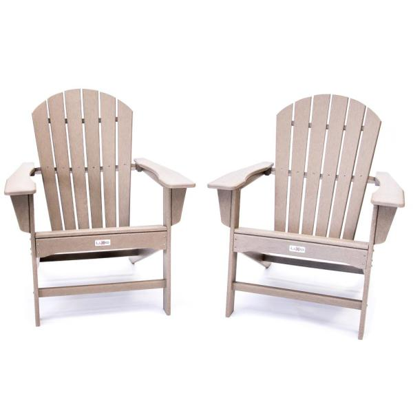 Hampton Weathered Wood Outdoor Patio Plastic Adirondack Chair (2-Pack)