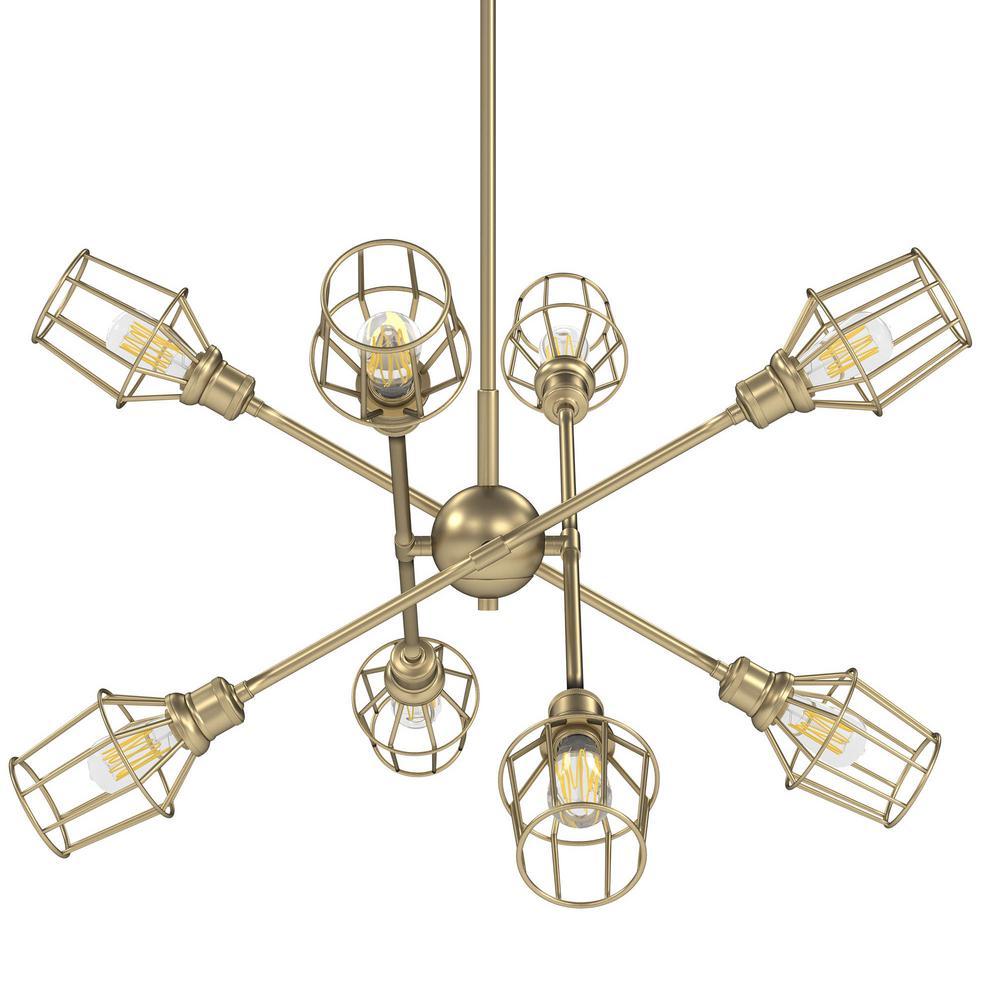Axel 8-Light Olympic Gold Sputnik Chandelier