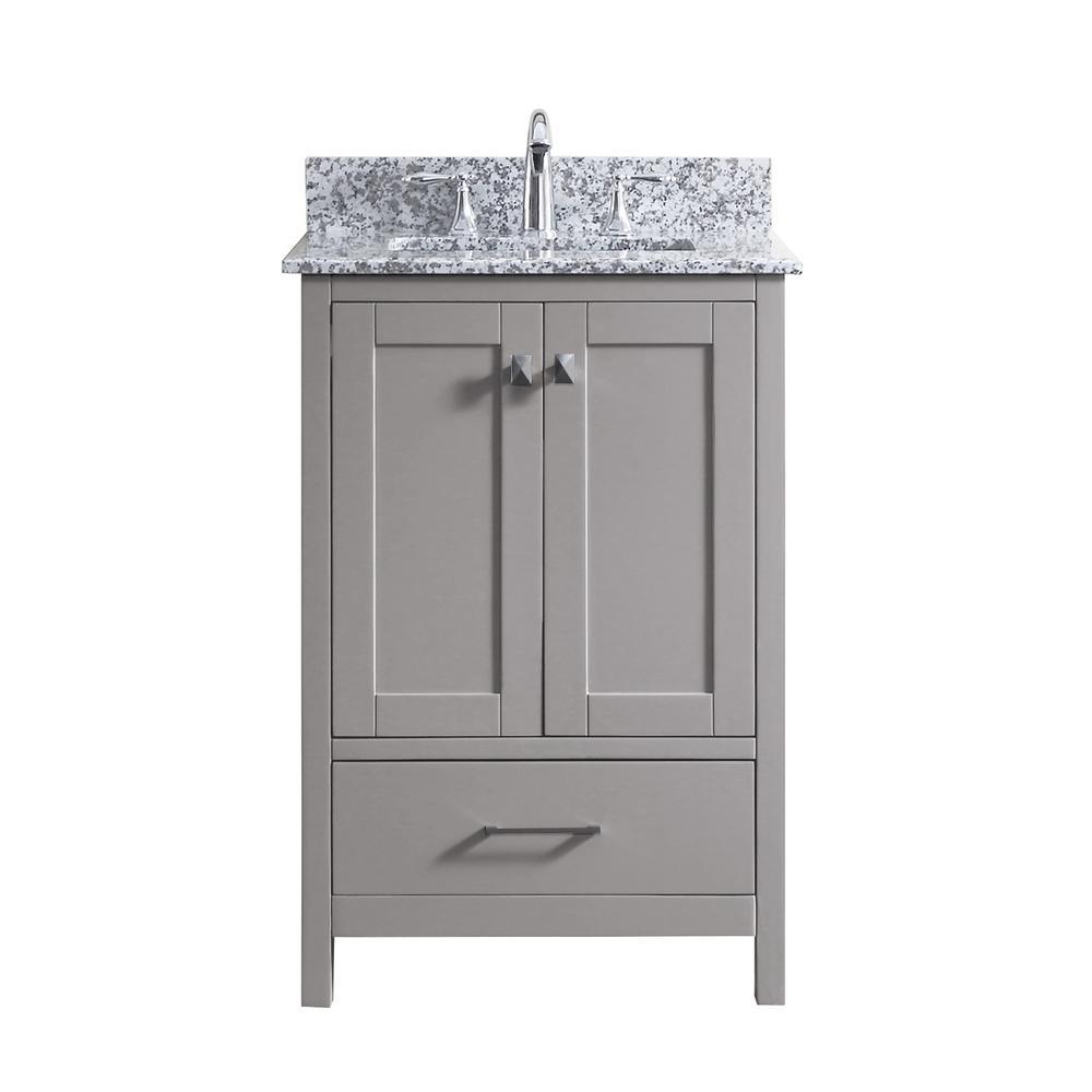 Caroline Madison 25 in. W Bath Vanity in C. Gray with Granite Vanity Top in Arctic White Granite with Square Basin