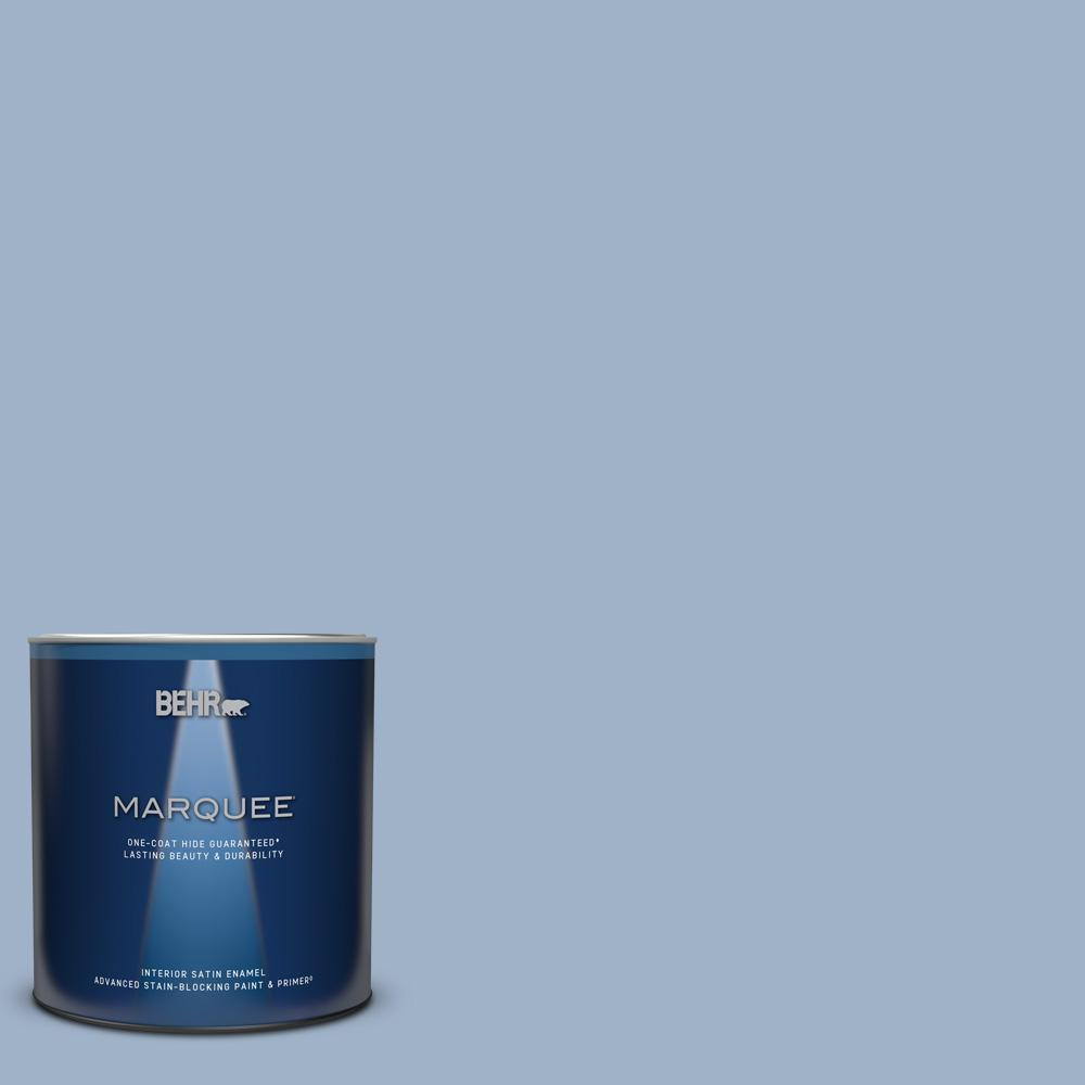Behr Marquee 1 Qt S530 3 Aerial View One Coat Hide Satin Enamel Interior Paint Primer 745004 The Home Depot
