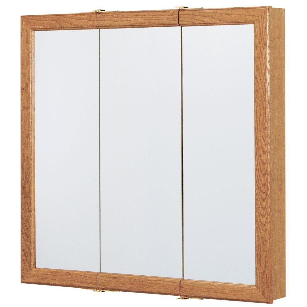 30 in. W x 29 in. H Framed Surface-Mount Tri-View Bathroom