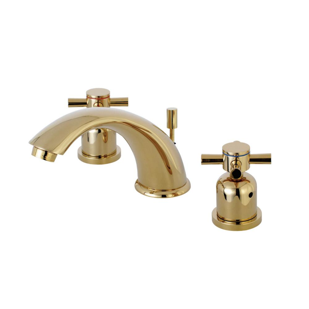 Kingston Brass Modern Cross 8 In. Widespread 2-Handle Bathroom Faucet In Polished Brass
