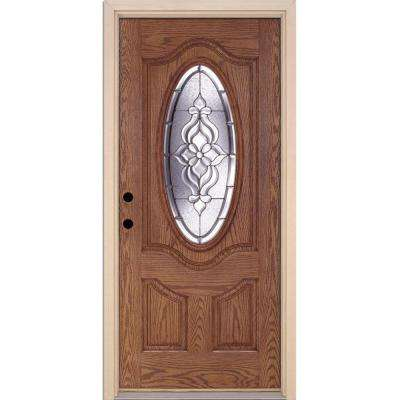 37.5 in. x 81.625 in. Lakewood Zinc 3/4 Oval Lite Stained Medium Oak Right-Hand Inswing Fiberglass Prehung Front Door