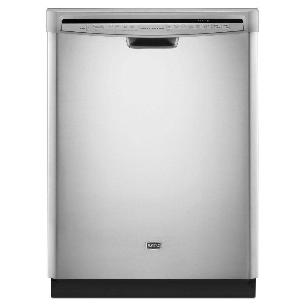 Maytag JetClean Plus Front Control Dishwasher in Monochromatic Stainless Steel with Tub and Steam Cleaning-DISCONTINUED