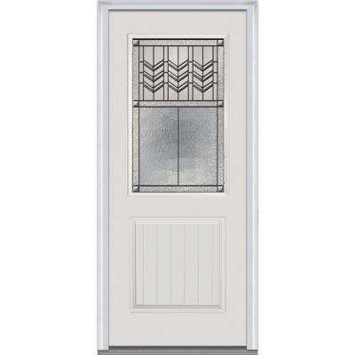 36 in. x 80 in. Prairie Bevel Right-Hand 1/2 Lite 1-Panel Planked Classic Primed Fiberglass Smooth Prehung Front Door