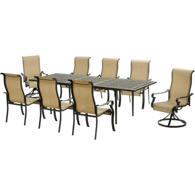 Brigantine 9-Piece Aluminum Outdoor Dining Set with an Expandable Cast-Top Table 2-Swivel Rockers and 6-Dining Chairs