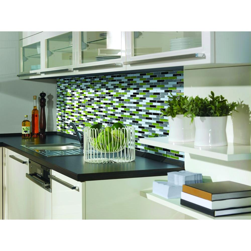 Lovely Smart Tiles Murano Verde 10.20 In. W X 9.10 In. H Peel And Stick