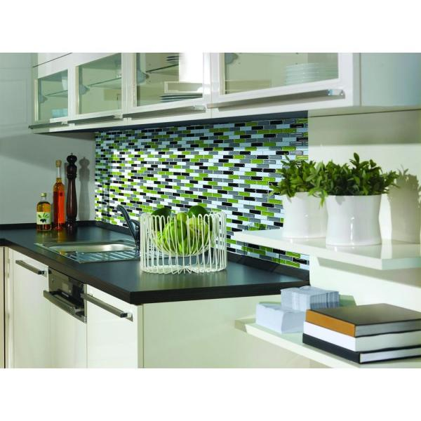 Smart Tiles Murano Verde 10.20 in. W x 9.10 in. H Peel and Stick Decorative Mosaic Wall Tile Backsplash (12-Pack)