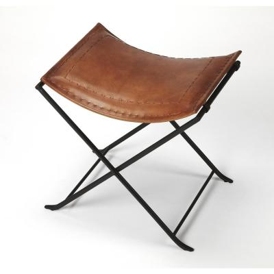 Melton 18.5 in. Brown Leather Stool