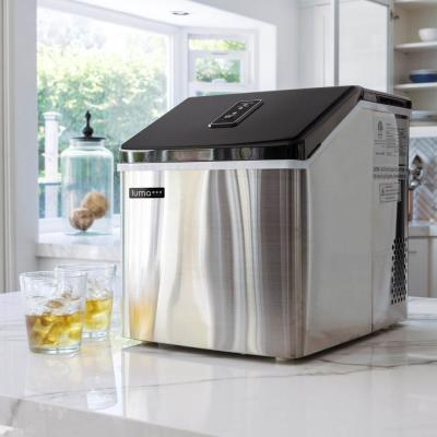 Portable 28 lb. of Ice a Day Countertop Clear Ice Maker BPA Free Parts Perfect for Cocktails and Soda - Stainless Steel