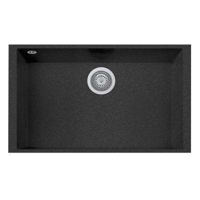 One Drop-in Granite Composite 17 in. 1-Hole Single Bowl Kitchen Sink in Black Metallic with Faucet in Brushed Nickel