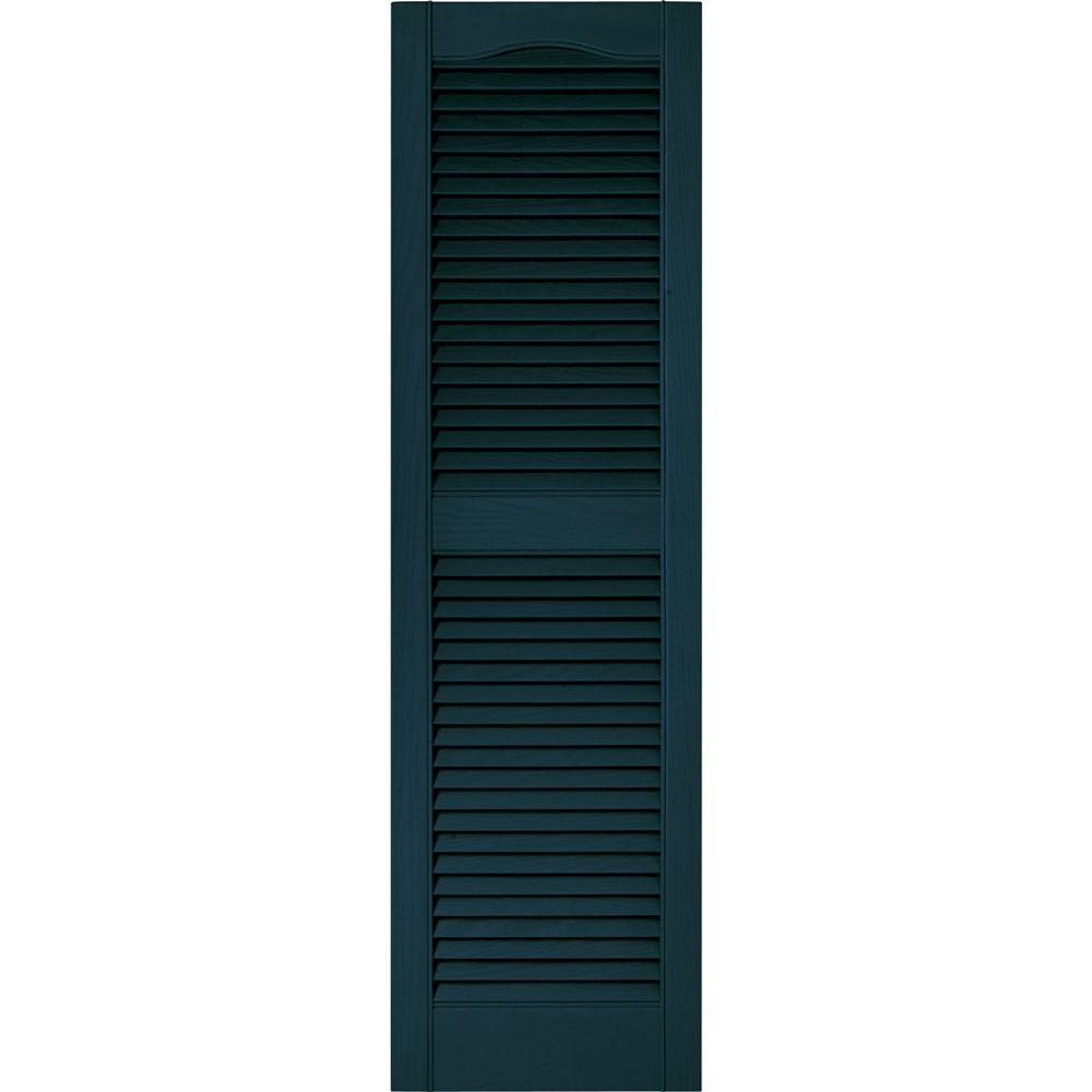 Builders Edge 15 in. x 52 in. Louvered Vinyl Exterior Shutters Pair in #166 Midnight Blue