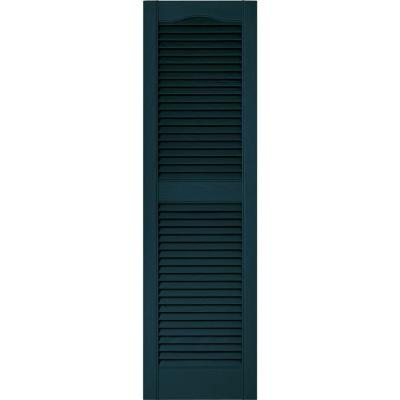 15 in. x 52 in. Louvered Vinyl Exterior Shutters Pair in #166 Midnight Blue