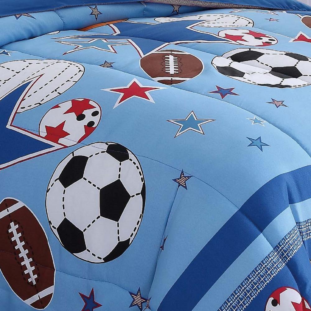 Sports 2-Piece Blue Sports Twin Comforter Set