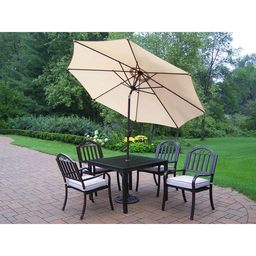 Oakland Living Rochester 40 in. x 40 in. 5-Piece Patio Dining Set with Cushions plus Tilting Umbrella and Stand