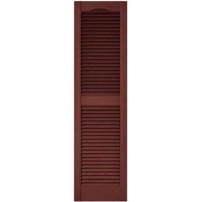 15 in. x 55 in. Louvered Vinyl Exterior Shutters Pair in #027 Burgundy Red