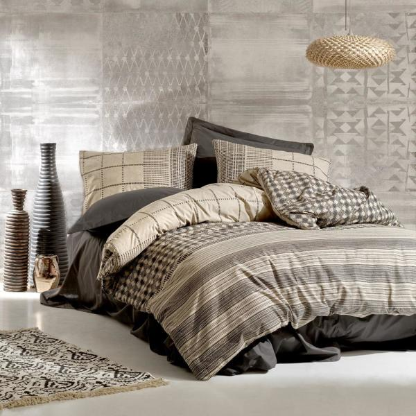 SUSSEXHOME Cream Lines Anthracite, Queen Size Duvet Cover Set, 1