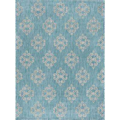 Veranda Aqua 7 ft. 10 in. x 10 ft. 3 in. Indoor/Outdoor Area Rug