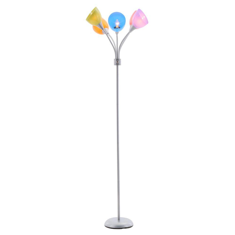 Good Hampton Bay 67 In. 5 Arm Silver/Painted Floor Lamp