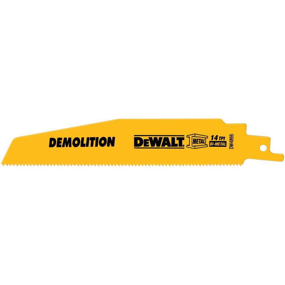 DEWALT 6 in. 14 TPI Demolition Bi-Metal Reciprocating Saw Blade (5-Pack)