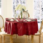 90 in. Round Red Elrene Barcelona Damask Fabric Tablecloth