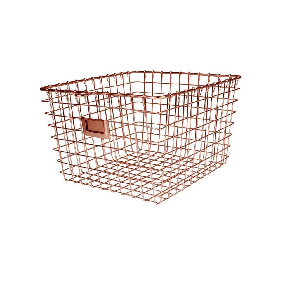 Spectrum 11.875 in. W x 13.75 in. D x 8 in. H Medium Storage Basket in Copper