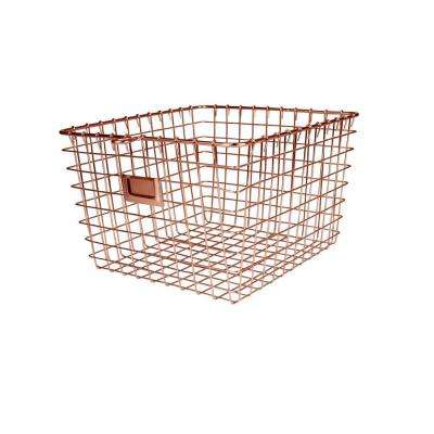 11.875 in. W x 13.75 in. D x 8 in. H Medium Storage Basket in Copper