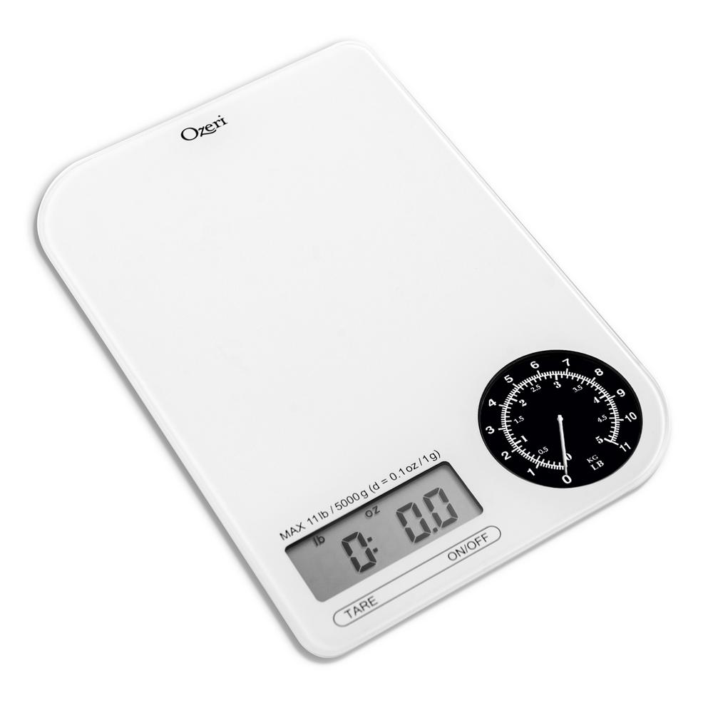 ozeri rev digital kitchen scale with electro mechanical weight dial zk18 wb the home depot. Black Bedroom Furniture Sets. Home Design Ideas