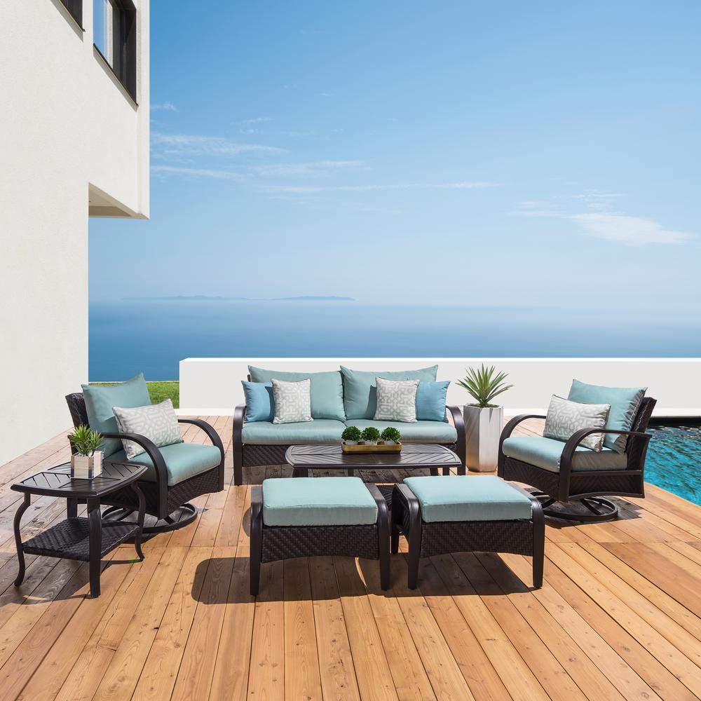 Barcelo 7-Piece Wicker Motion Patio Deep Seating Conversation Set with Sunbrella Spa Blue Cushions
