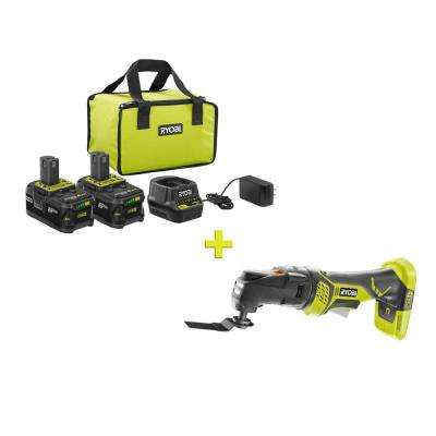 18-Volt ONE+ High Capacity 4.0 Ah Battery (2-Pack) Starter Kit with Charger and Bag with FREE ONE+ JobPlus Multi-Tool