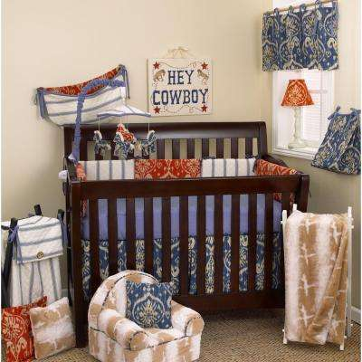 17 in. L Ikat Cotton Sidekick Straight Valance in Blue