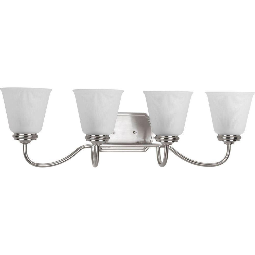 Progress Lighting Keats Collection 4-Light Brushed Nickel Bathroom Vanity Light with Glass Shades