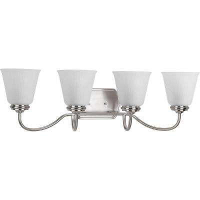 Keats Collection 4-Light Brushed Nickel Bathroom Vanity Light with Glass Shades