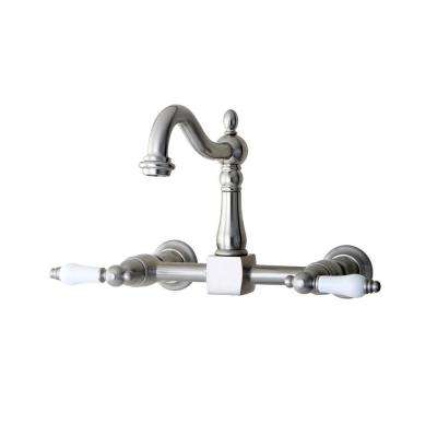 Victorian Porcelain Lever 2 Handle Wall Mount Kitchen Faucet In Satin Nickel