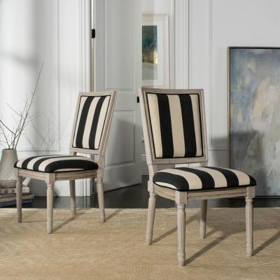 Buchanan Black/Ivory/Rustic Gray 19 in. H French Brasserie Striped Linen Rectangular Side Chair (Set of 2)