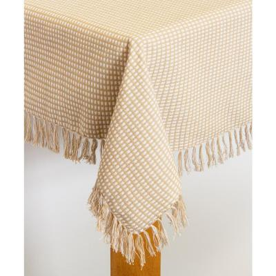 Homespun Fringed 60 in. x 102 in. Ecru 100% Cotton Tablecloth